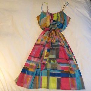 Trina Turk tie waist dress with bright colors